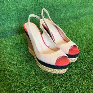 Zara Peep Toe Slingback Wedge